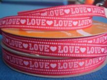 10mm RED with 'LOVE'  HEARTS GROSGRAIN RIBBON